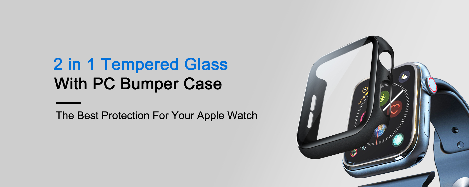 2 in 1 full coverage tempered glass screen protector with pc bumper for apple watch
